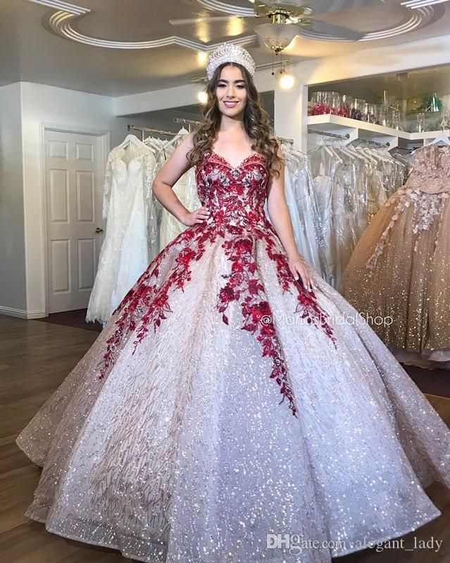 Sparkly Sexy Burgundy Lace Beaded Quinceanera Prom Dresses Sexy Sweetheart Sequined Ball Gown Evening Party Sweet 16 Dress Flower Girls Dress Masquerade Ball Gown Quinceanera Dress Online with $239.53/Piece on Alegant_lady's Store #masqueradeballgowns