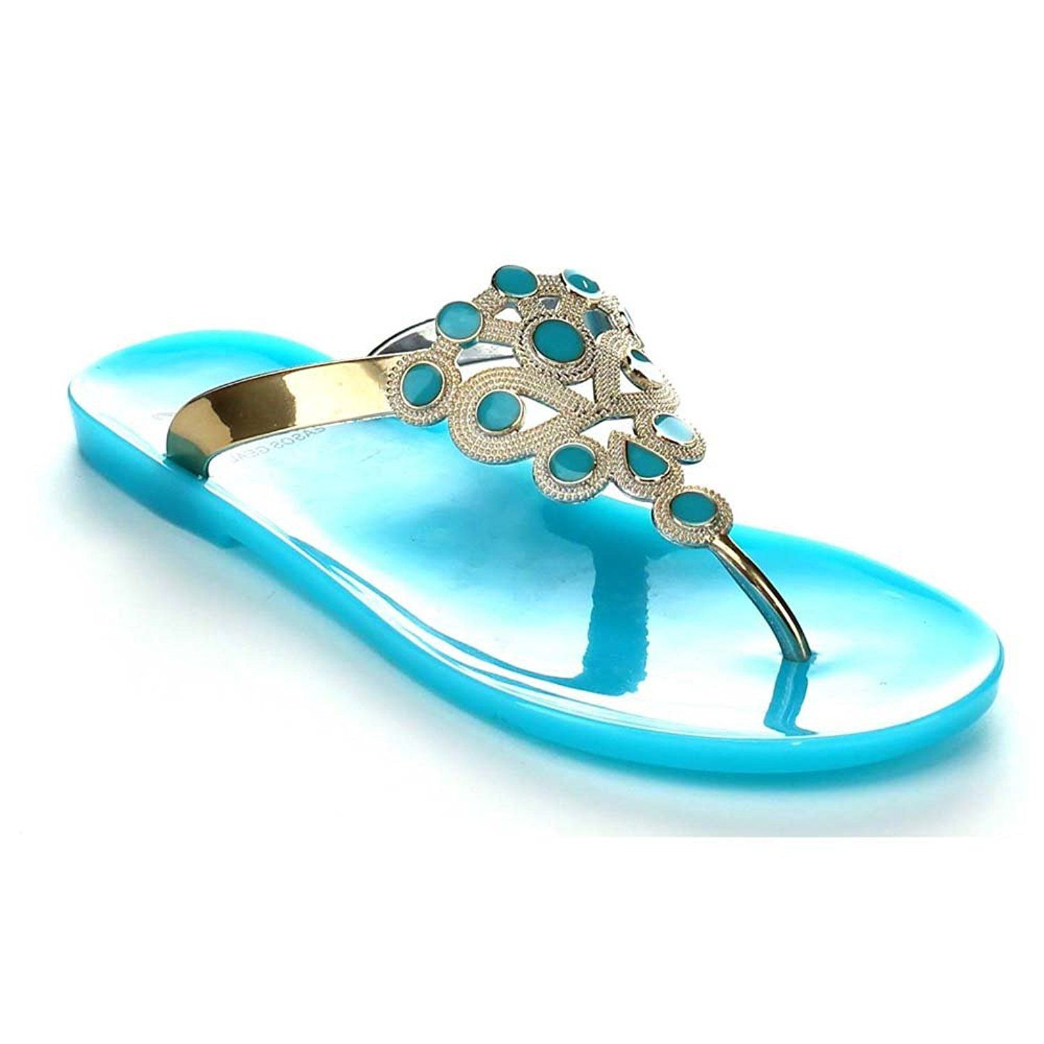 89c816994cc EASOS GEAL AE323 Women s Slip-on T-Strap Flat Jelly Thong Sandals   Read