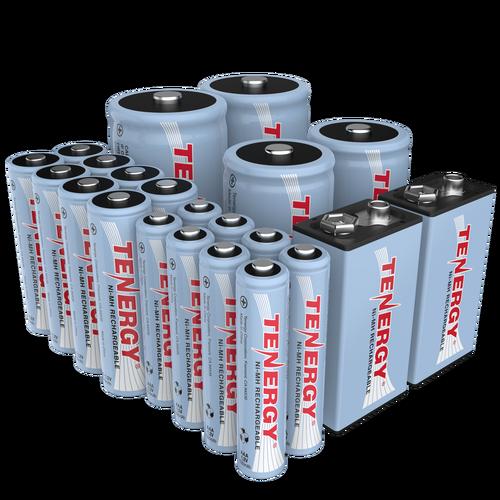 Combo 22pcs Tenergy Nimh Rechargeable Batteries 8aa 8aaa 2c 2d 2 9v Nimh Rechargeable Batteries Battery Sizes