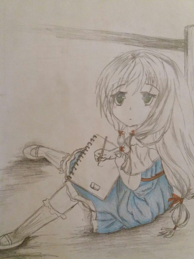 Anime cute girl drawing blue