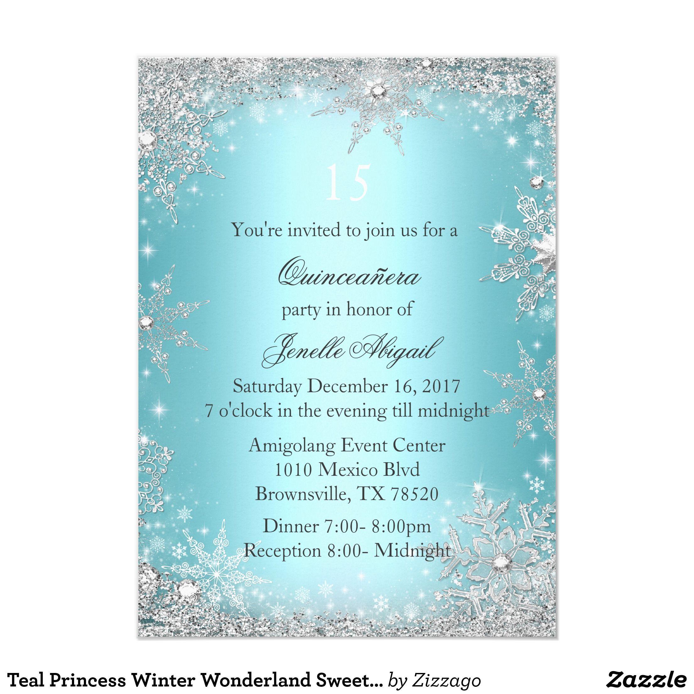 teal princess winter wonderland sweet 16 invite in 2018 sweet 16