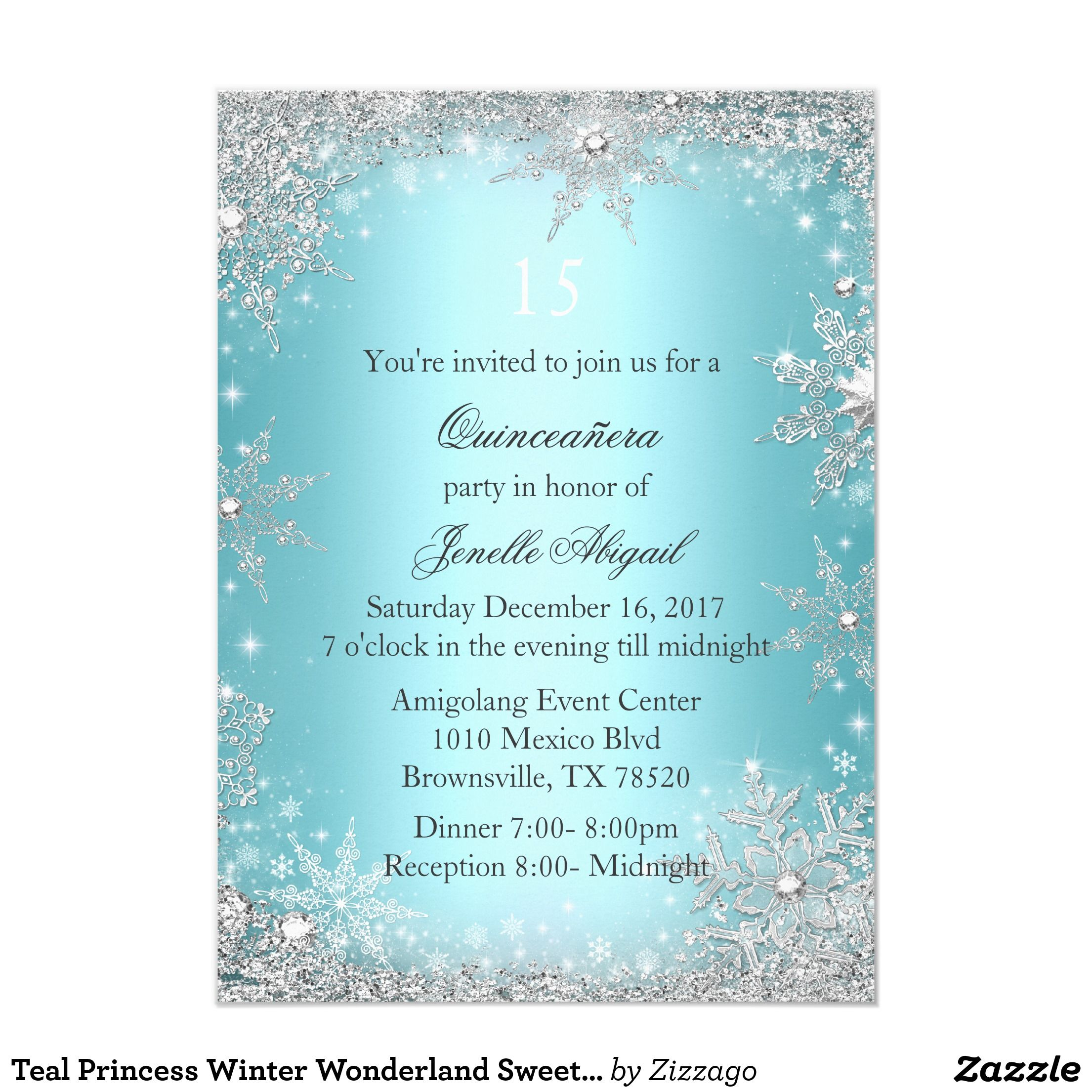 Teal Princess Winter Wonderland Sweet 16 Invite | Sweet 16, Teal and ...