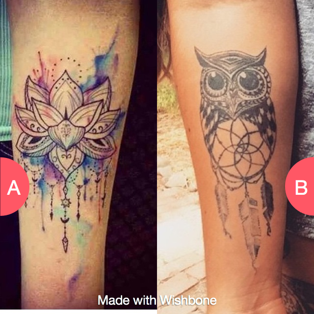 Would you rather have a Flower or a owl Dreamcatcher Click here to vote @ http://getwishboneapp.com/share/2159853