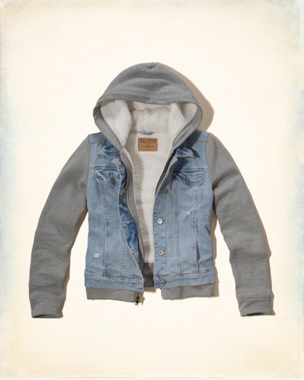 Hollister Sherpa Lined Denim Twofer Outerwear Jackets Girls Jacket All Weather Jackets [ 1450 x 1160 Pixel ]