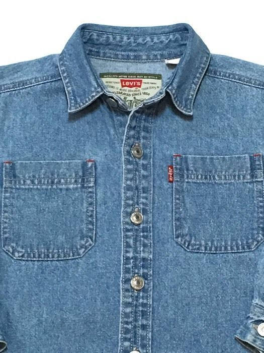 3301b90f LEVI Strauss Jean Shirt Boys 5 Bue Denim Red Tab Metal Logo Buttons #Levis