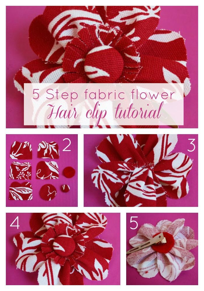 Fabric and Ribbon Kanzashi Fabric Flower Tutorial ... plus   Fabric Hair Flowers Tutorial