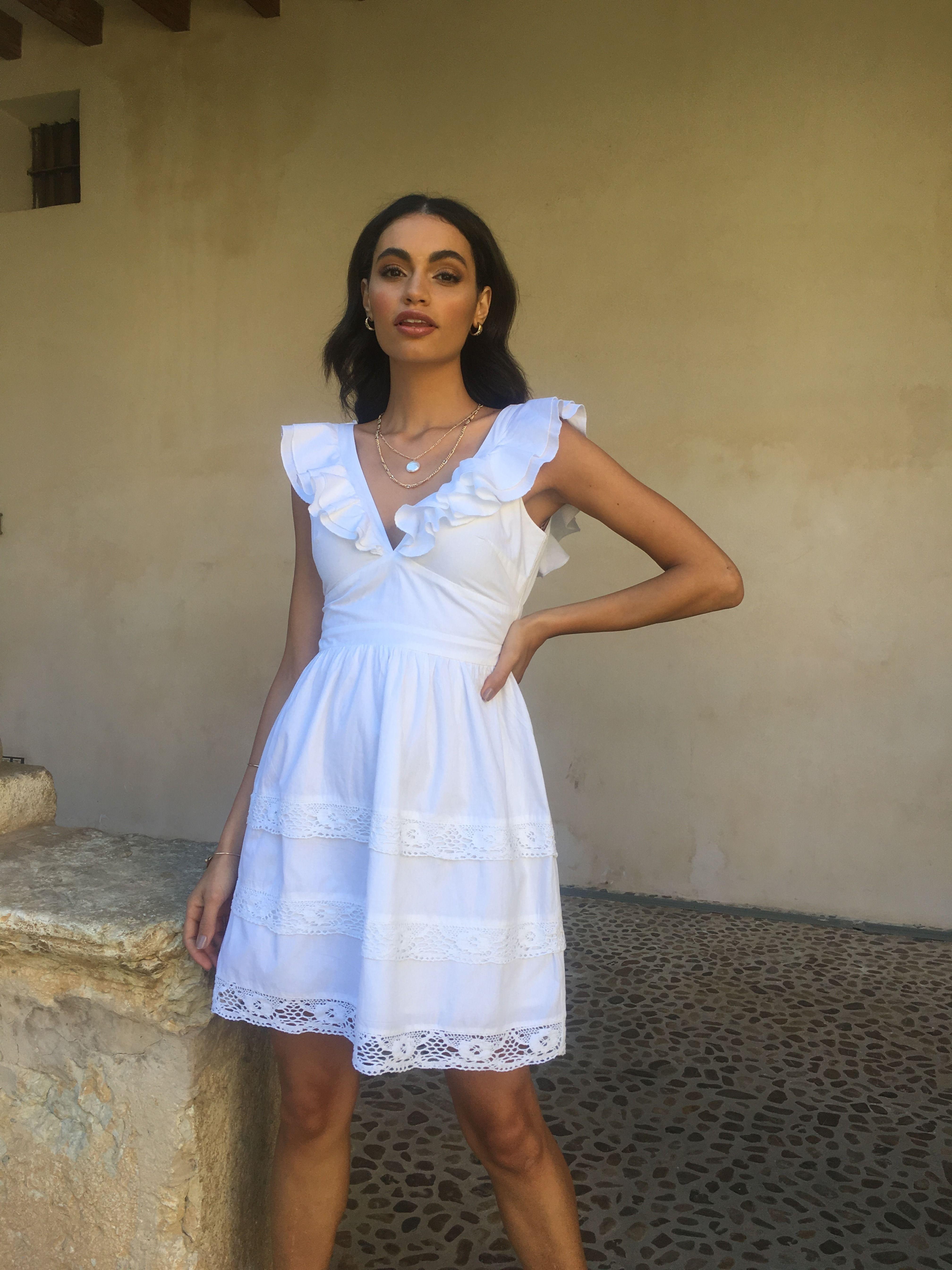 Tie Back Layered Flounce Dress Flounced Dress Dresses White Dress [ 5376 x 4032 Pixel ]