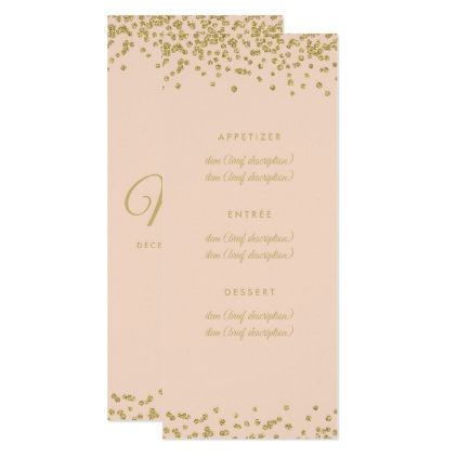Wedding Menu Gold Faux Glitter Confetti Blush Rose Card  Glitter