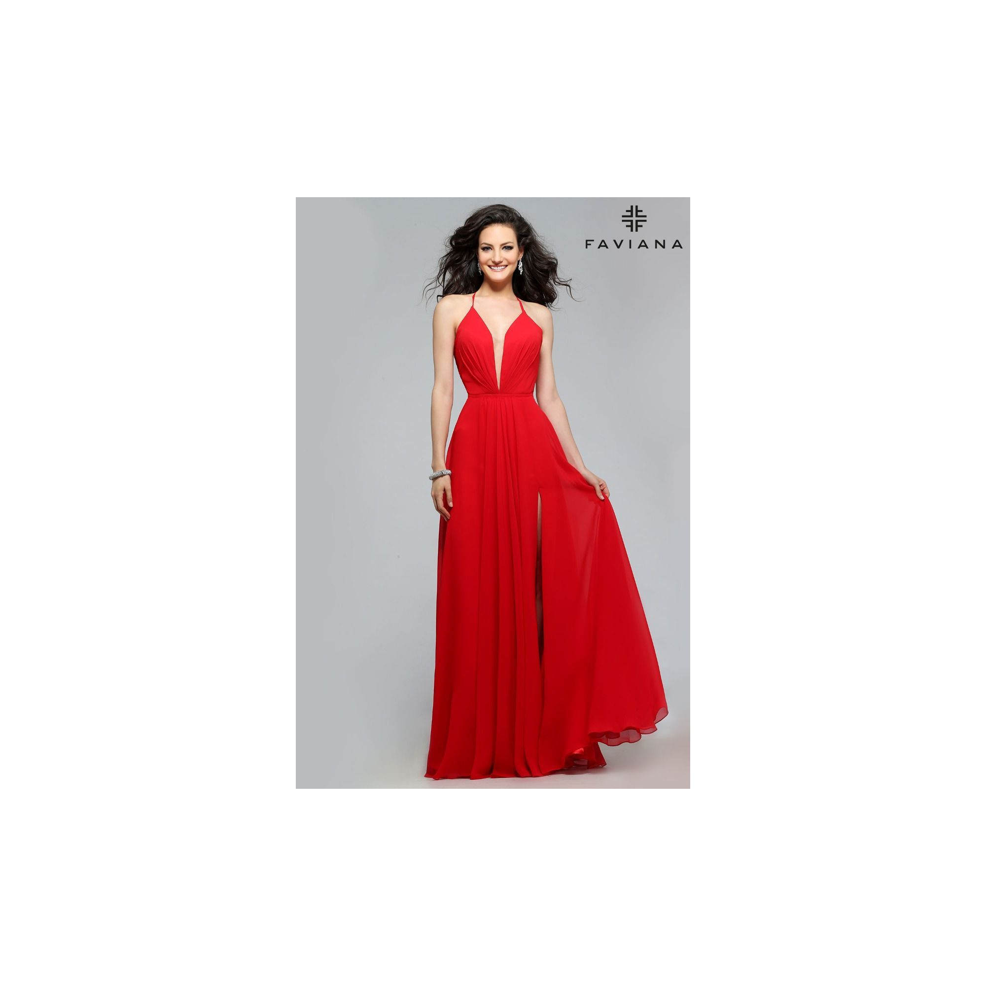 Chiffon evening dress with full skirt and lace-up back  0a27fe923