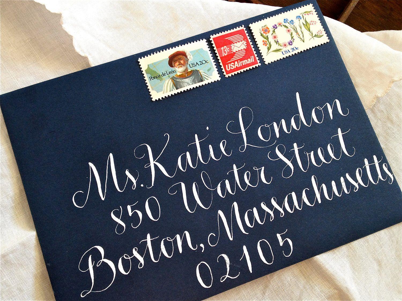 Calligraphy Envelope Addressing In Vigny Style Wedding