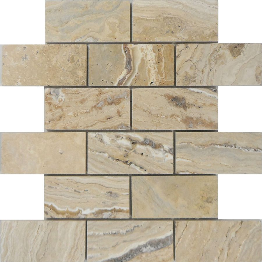 Shop allen + roth Beige Natural Stone Mosaic Subway Indoor/Outdoor ...