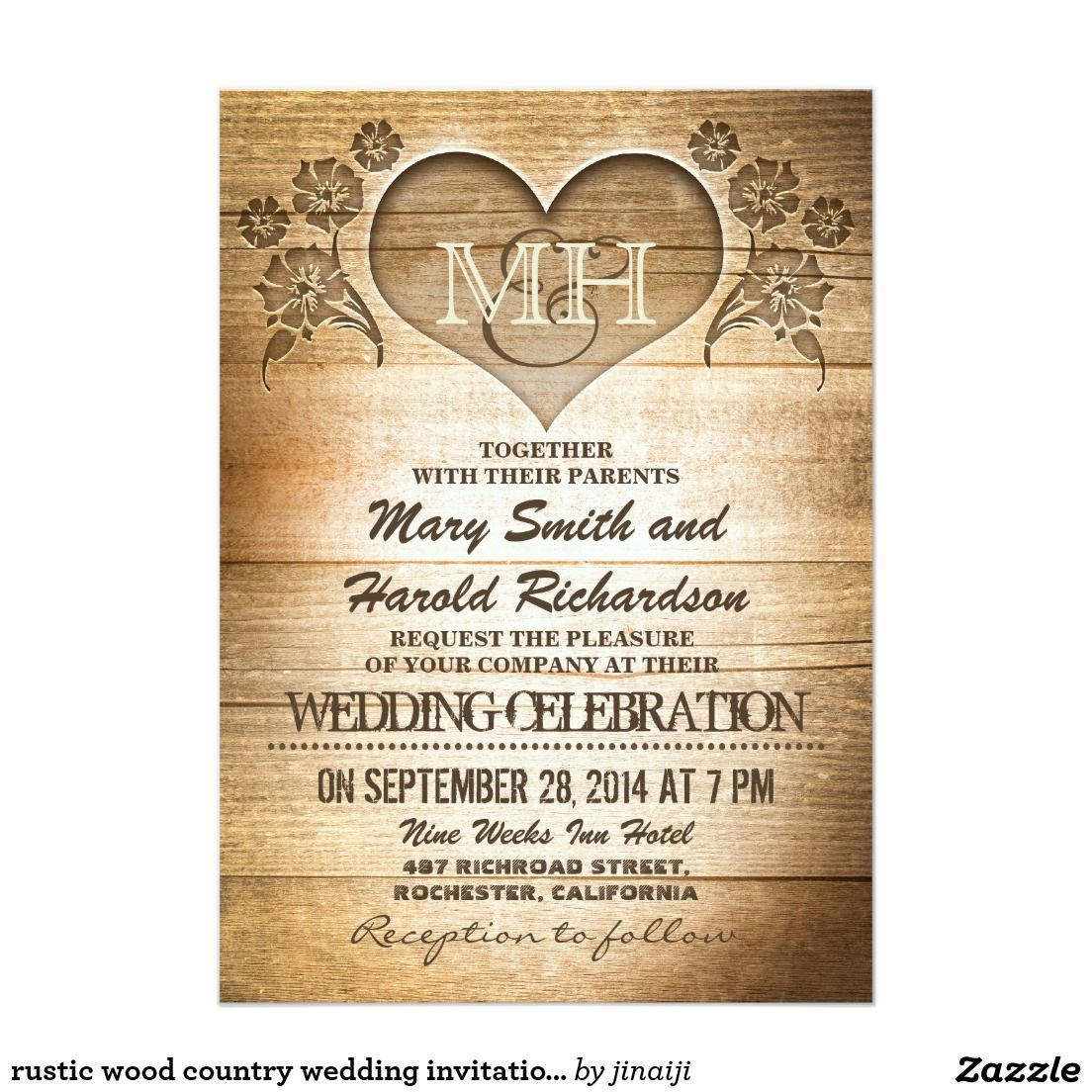 Rustic wood country wedding invitations | Pinterest | Country ...