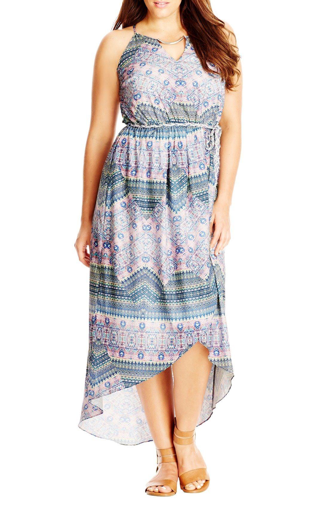 9ce53513937 City Chic Patchwork Print Faux Wrap Midi Dress (Plus Size) available at   Nordstrom