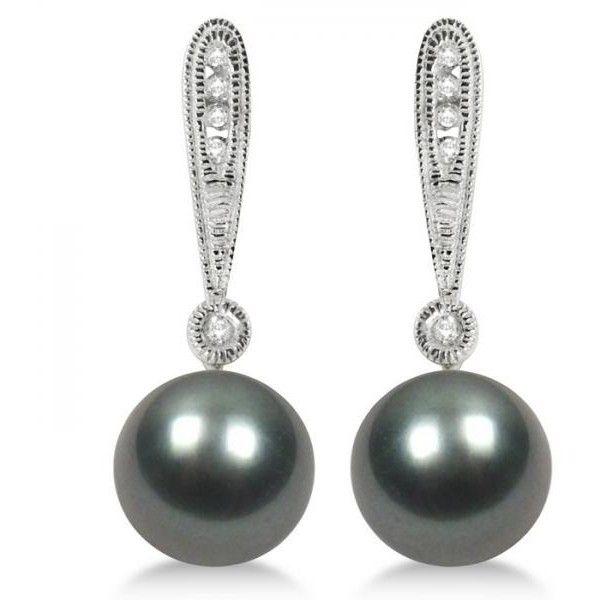 Allurez Vintage Style Tahitian Pearl & Diamond Earrings 14K White Gold... (22 775 UAH) ❤ liked on Polyvore featuring jewelry, earrings, diamond accent earrings, 14k diamond earrings, drop earrings, white gold diamond earrings and diamond drop earrings