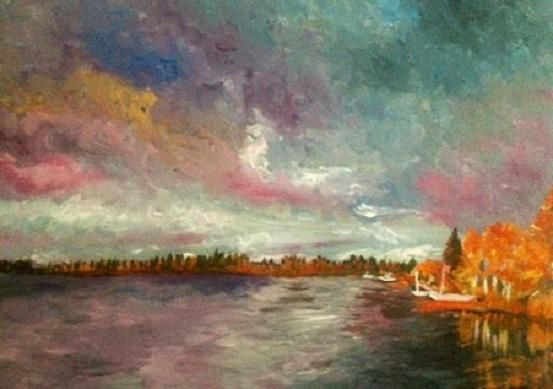 "Dawn, Lac La Plonge, 2012, 12"" x 16"", Acrylic on Canvas. Sold."