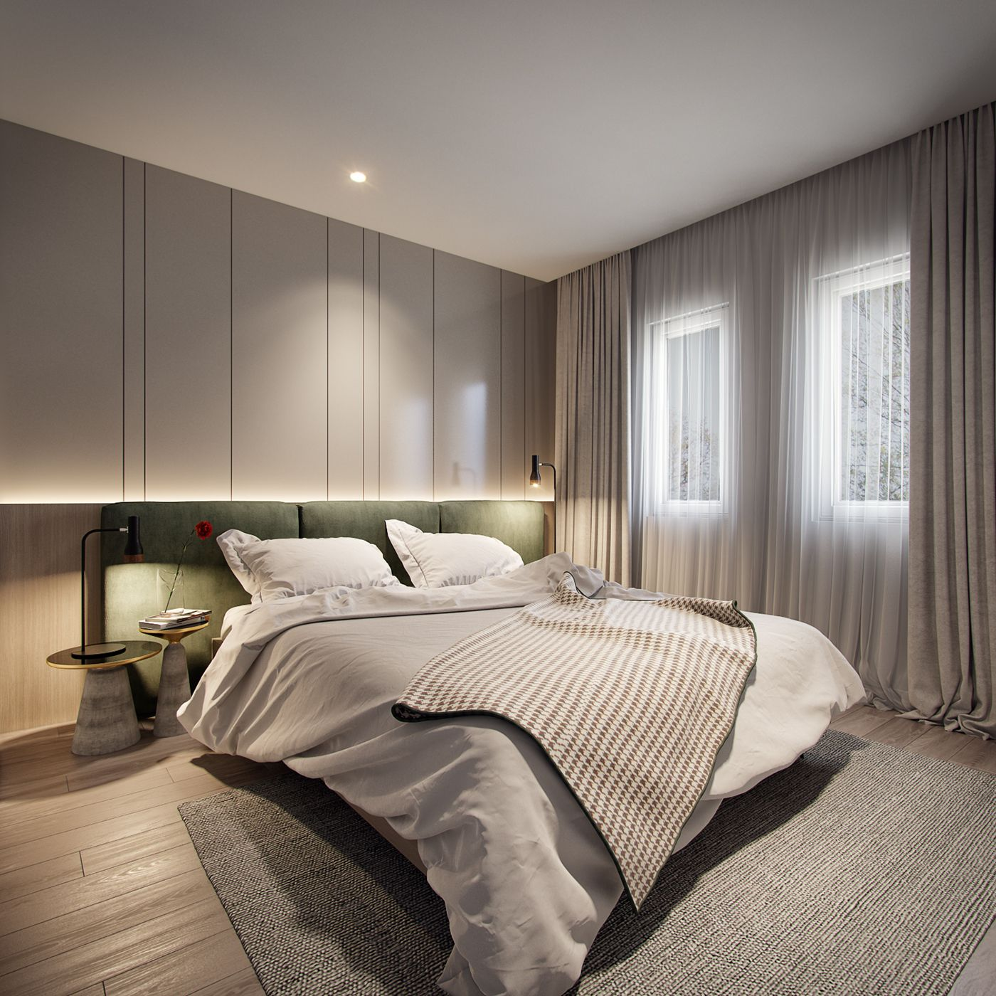 Bedroom In Contemporary Style On Behance: Bedroom Design, Living Room Decor