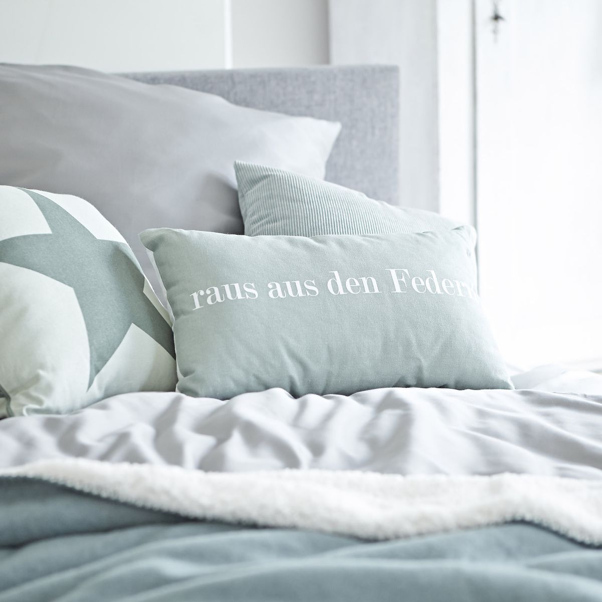 Kissen Ab Ins Bett B 30cm X L 50cm Grau Grun Grau Grun Wohnen