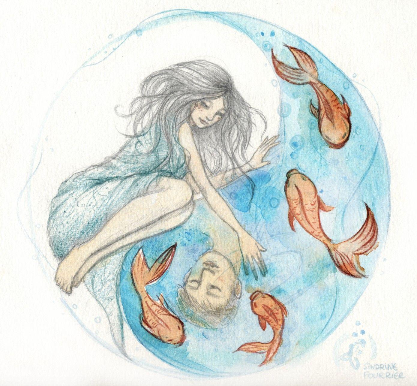yinyang love watercolor pencil wwwsandrinefourrier