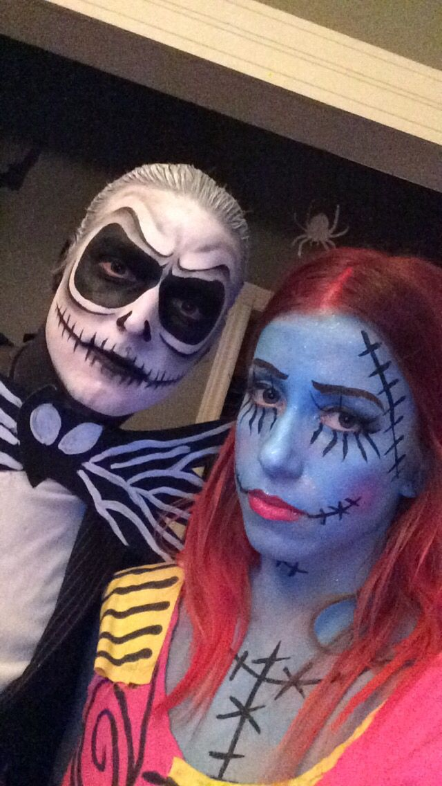 Jack skellington and sally halloween tim burton makeup diy couple costume holidaze - Maquillage halloween couple ...