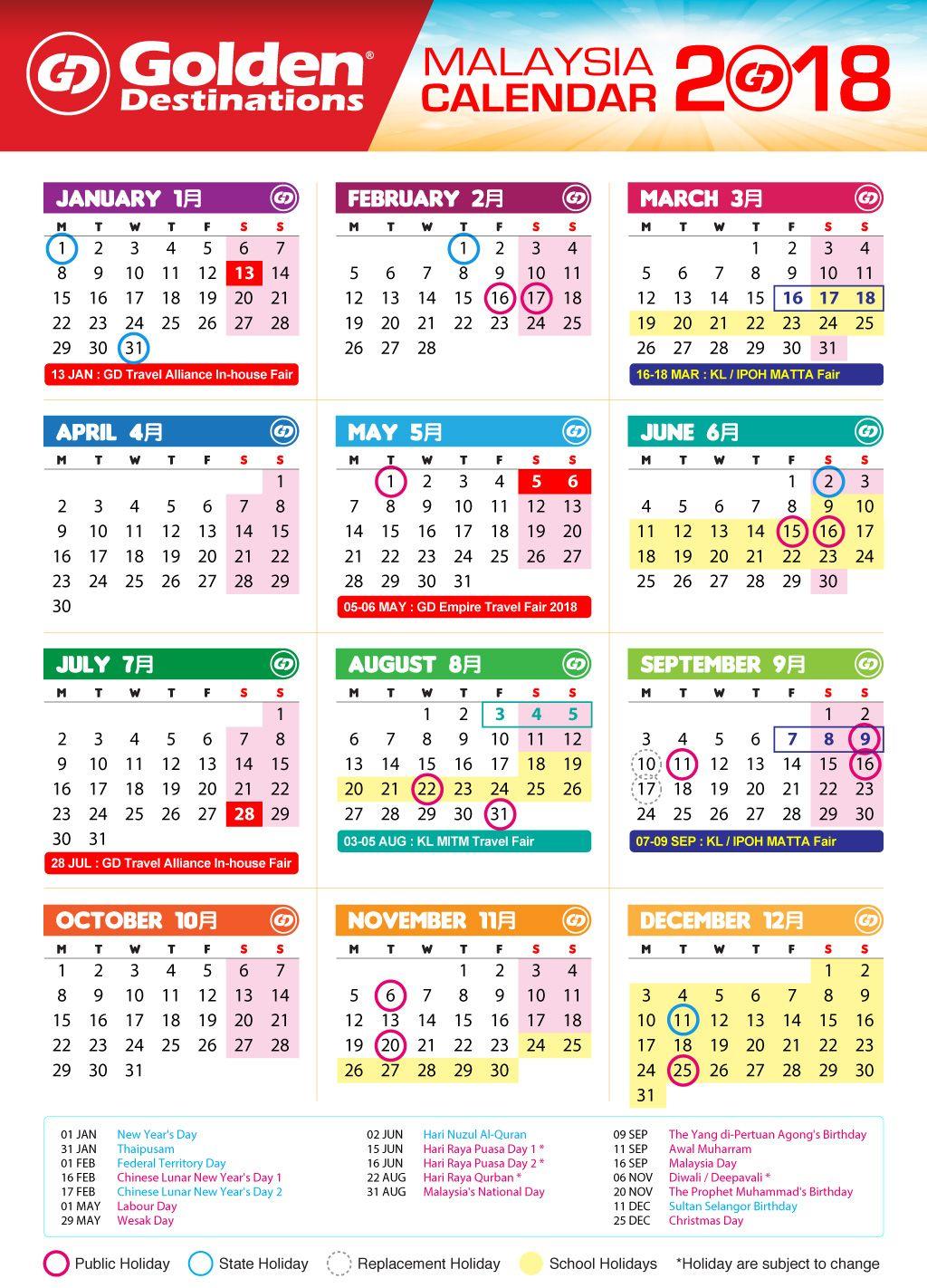 Malaysia Calendar 2018 Calendar Marketing Concept Destination Branding