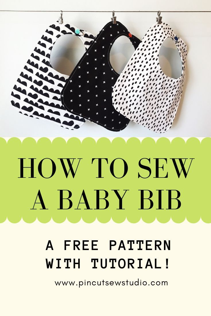 How to sew a simple baby bib. Free pattern and video tutorial. Come grab my free pattern and learn to make your own baby bibs with my video tutorial. I even teach you to make them in any size you need! || PIn, ,Cut, Sew Studio #sewing #howtosew #sewingforbaby #bibpattern