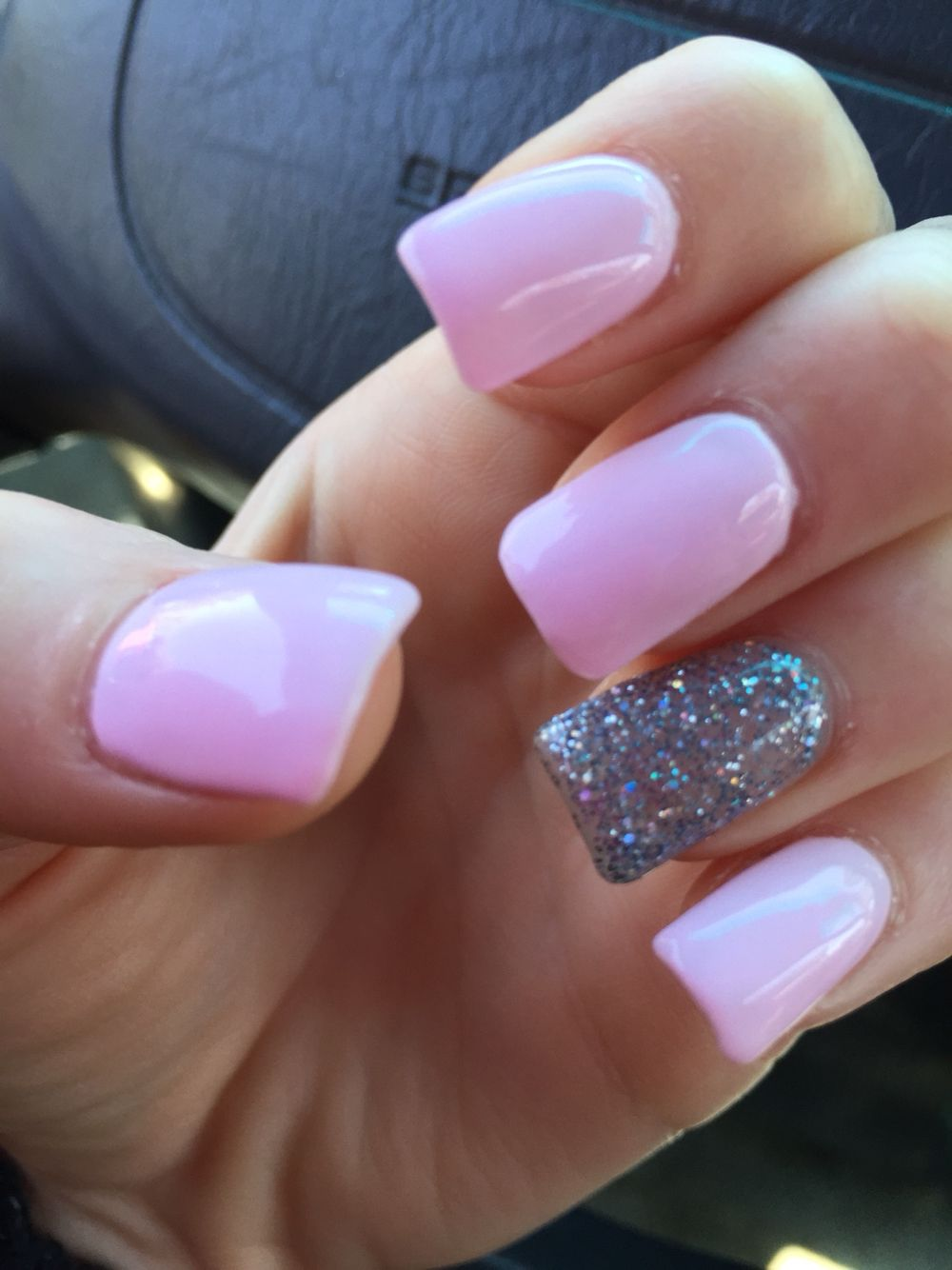 Light pink with dark silver glitter accent gel nails :] | Stuff ...