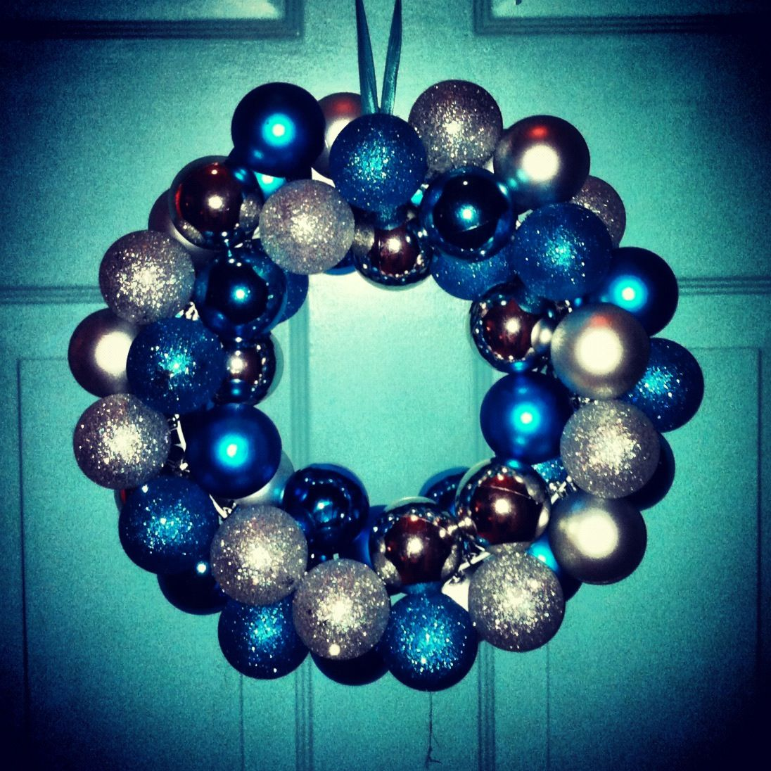 Christmas ornament wreath. Made with wire coat hanger