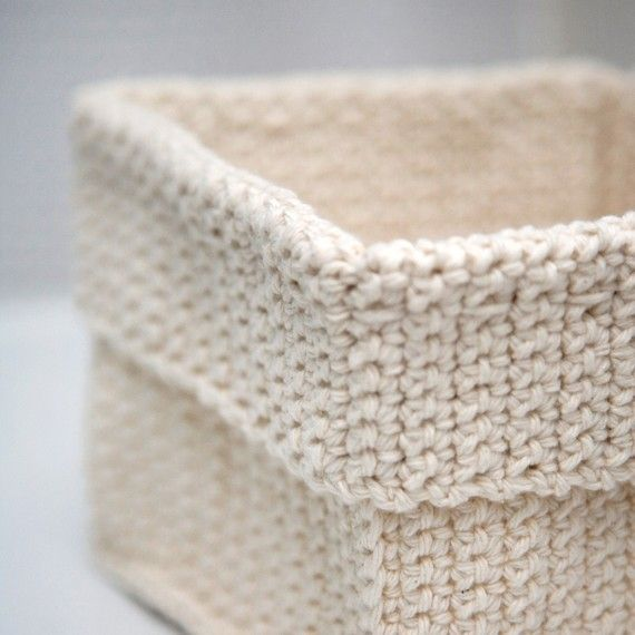 Square Crochet Basket Natural By TheCreativeGene On Etsy