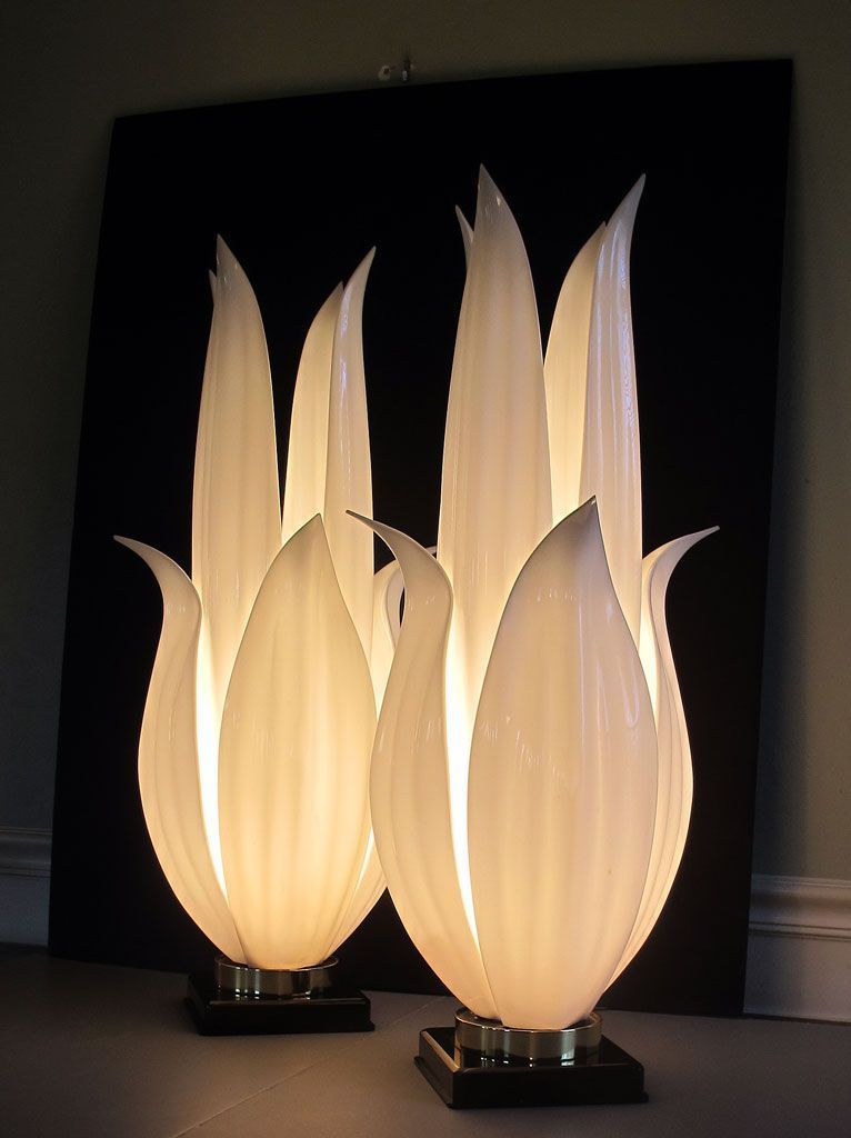 cool lamp rougier tulip lamps pair vintage 80s modernist from mcmodern