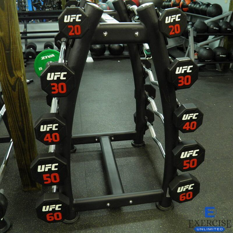 The Ufc Fixed Weight Combo Set Set Includes 5 Straight Bars And 5 Curl Bars Along With A Barbell Rack For Stor No Equipment Workout Barbell Set Weight Training