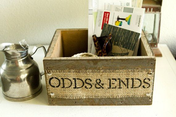 Burlap And Reclaimed Wood ODDS AND ENDS Box For Rustic Country Home Hand  Painted And Stenciled, Odds And Ends Box, Kitchen Box, Office Box  CUSTOMIZABLE
