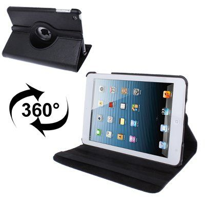 For+iPad+Mini+1/2/3+Black+360°+Rotatable+Litchi+Texture+Leather+Case+with+Holder