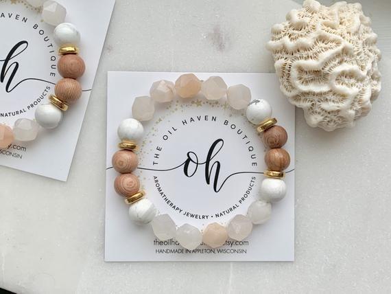 Blushed ~ 24k ~ Diffuser Bracelet ~ Aromatherapy ~ Essential Oil ~ Gemstone Bracelet ~ Holistic ~ Beach ~ Vacation ~ Bridesmaid Bracelets