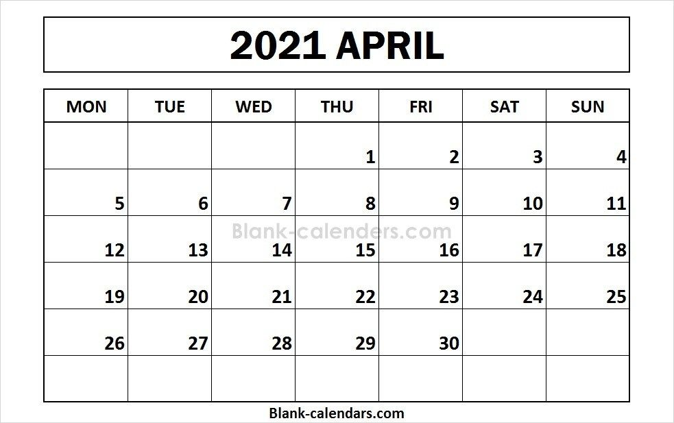 Printable April 2021 Calendar Monday Start September Calendar