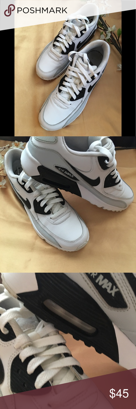 finest selection 947e9 b1527 Nike Air Max 90 Sneakers Gently Used, White   Black Leather Sneakers, Size  6Y   Men 6...Great Condition‼ Nike Shoes Sneakers
