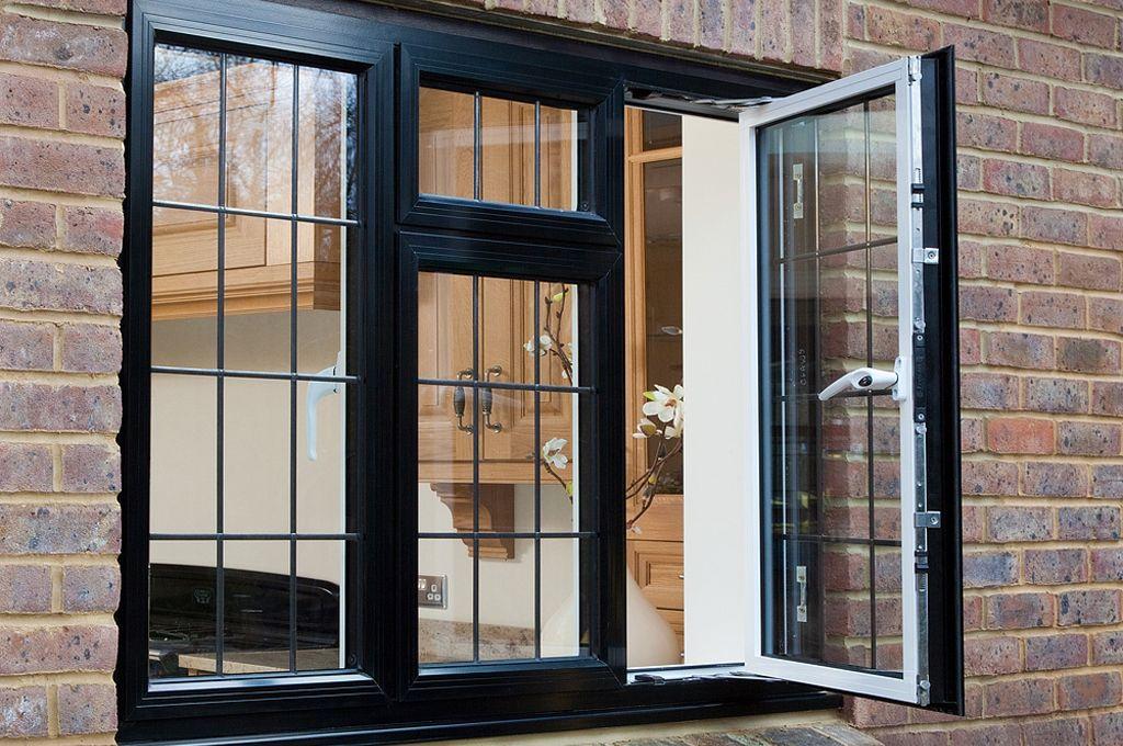 Casement Windows Aluminium Outside View Of An Open Black Aluminium Casement Window From