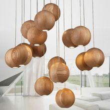 Lámpara moderna de madera maciza Chino Japonés Nordic creativo comedor sala de estar minimalista de tres de una sola cabeza de madera de…