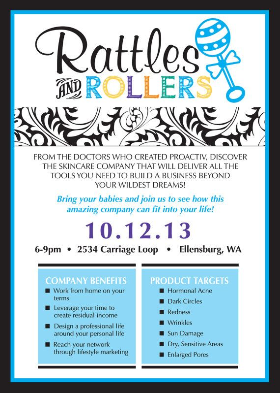 Rodan and Fields Rattles and Rollers Event Invitation (DIY or - Business Event Invitation