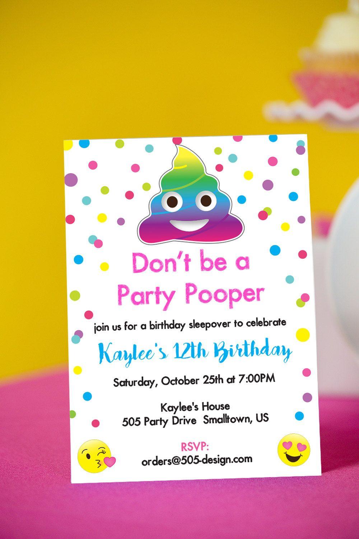 Emoji Party Pooper Invitation Instant Download Printable Emoji