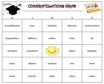 Graduation Bingo Game 60 Unique Cards Printable School Party Games Custom Graduation Party Graduation Party