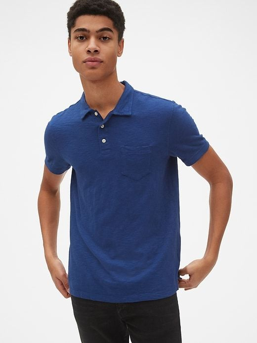 a5ef0c176 Gap Mens Slub Jersey Polo Shirt Deep Cobalt | Products | Mens tops ...