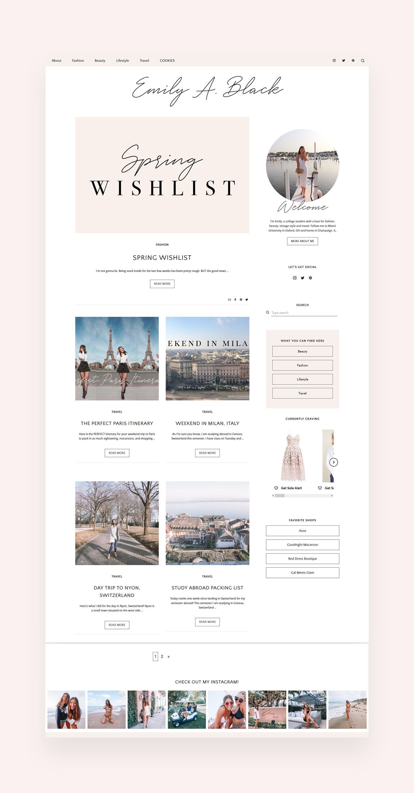 Blush Co Wordpress Theme My Boutique Themes In 2020 Wordpress Design Inspiration Wordpress Blog Design Blog Layout Design