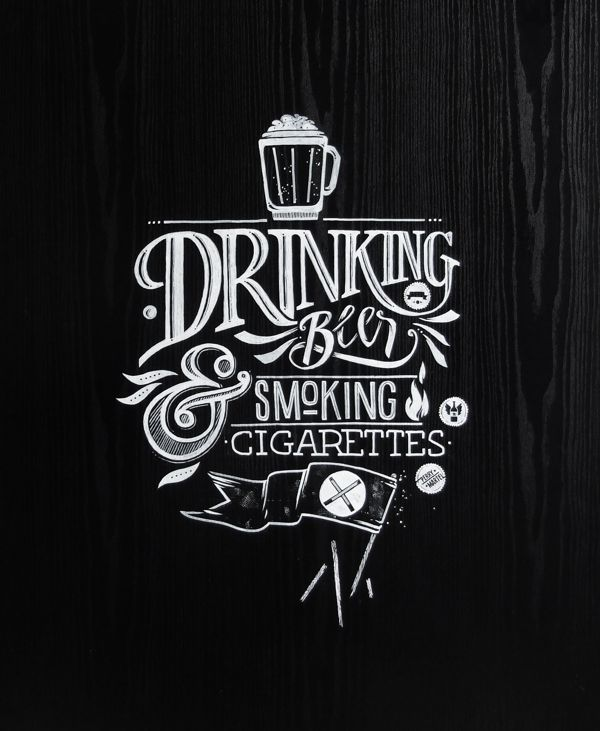 Küchentisch Zeichnen: Drinking Beer And Smoking Cigarettes By János Kőrös