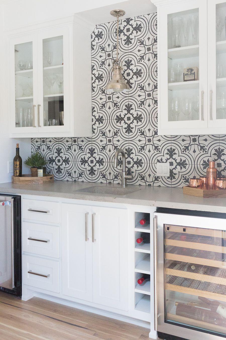 Affordable Ceramic Patterned Tile Backsplash And Flooring Cc And Mike Kitchen Decor Tiles Patterned Kitchen Tiles Patterned Tile Backsplash