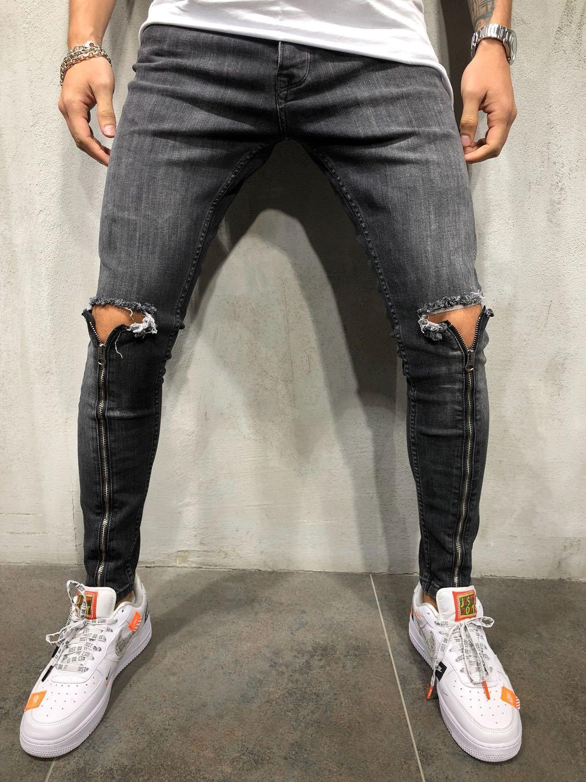 Zipper Jeans Black Streetwear Jeans Ripped Jeans Men Ripped Jeans Style [ 1600 x 1200 Pixel ]