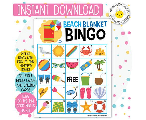 Beach Summer Pool Party Printable Bingo Cards 30 Different