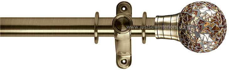 G2 Galleria 50mm Burnished Brass Curtain Pole Mozaic Gold Ball