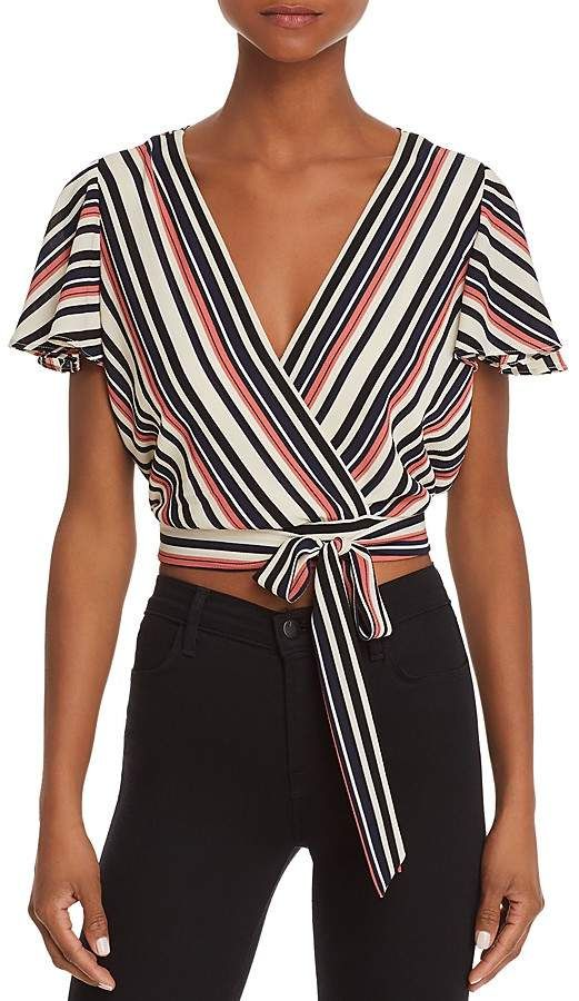 4856eaa3e67 Aqua Striped Faux-Wrap Cropped Top - 100% Exclusive Cropped Top