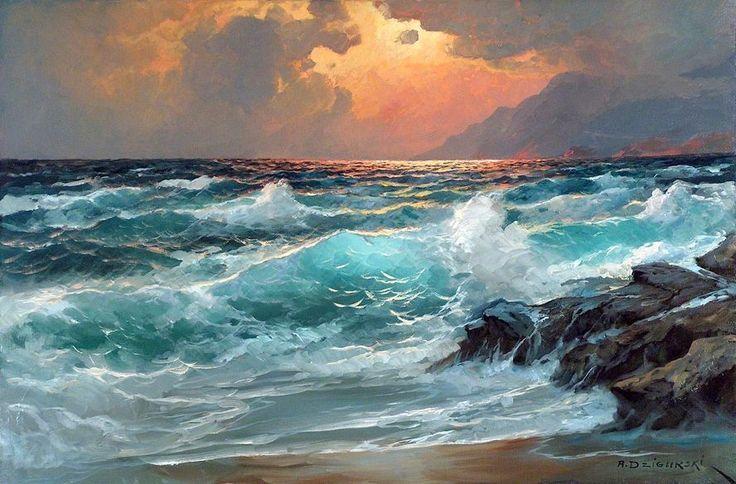 Levkonoe A Dzigurski Even Tides Majesty Seascape Paintings Ocean Painting Sea Painting