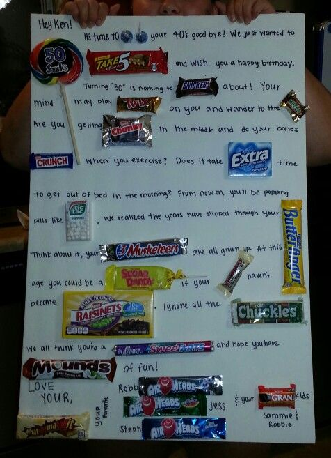 Kens 50th birthday candy gram | Candy bar posters, Candy ...